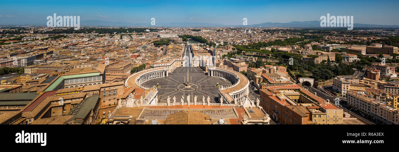 St. Peter's Square & view of Rome panorama Stock Photo