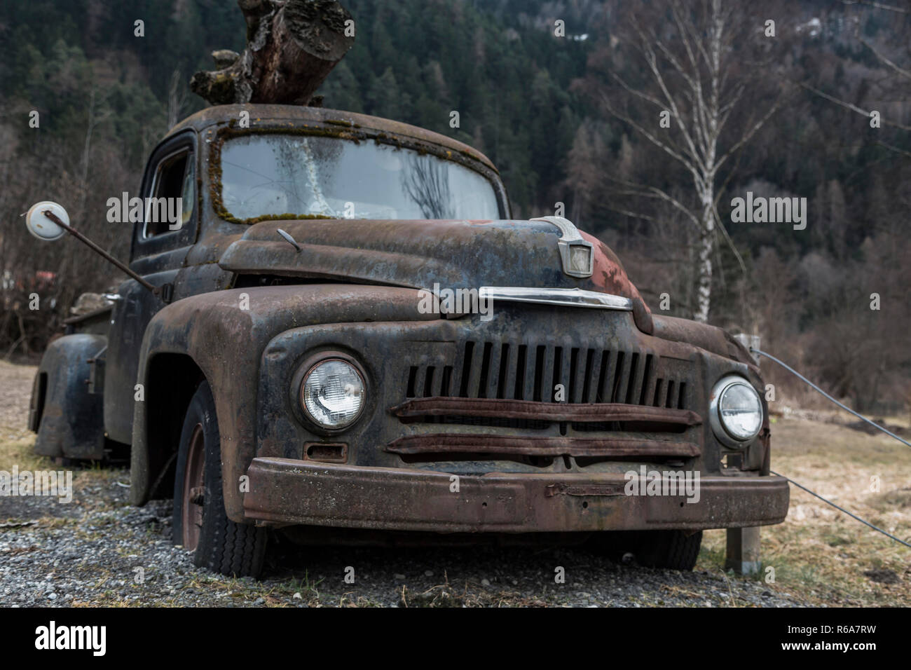 Disused Oldtimer Awakened Feelings Of Nostalgia Stock Photo