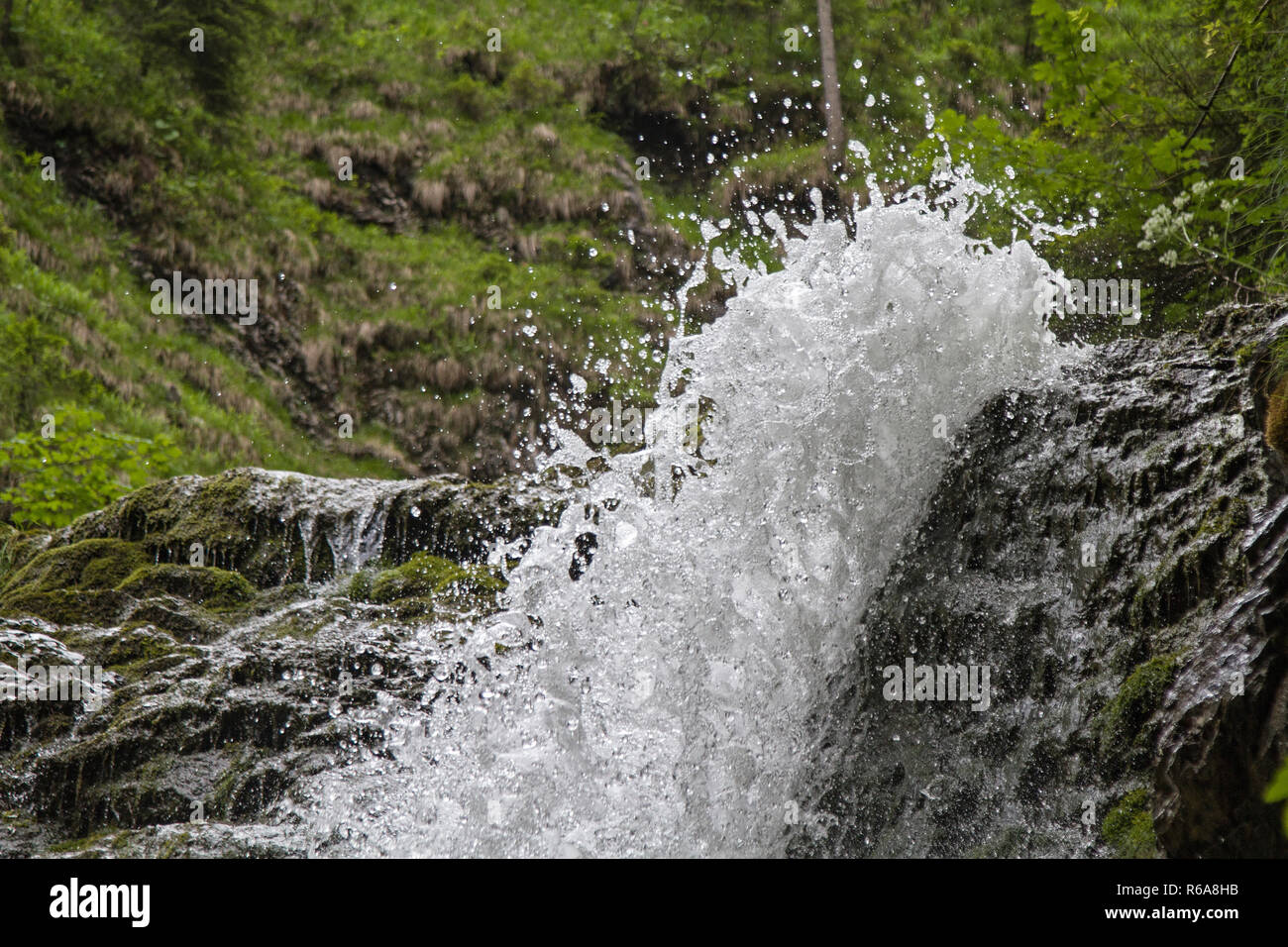 Silbach Waterfall Idyllic Waterfall In Bayrischzell - Stock Image