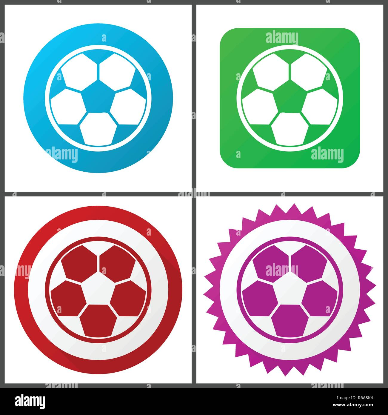 Soccer red, blue, green and pink vector icon set. Web icons. Flat design signs and symbols easy to edit - Stock Vector
