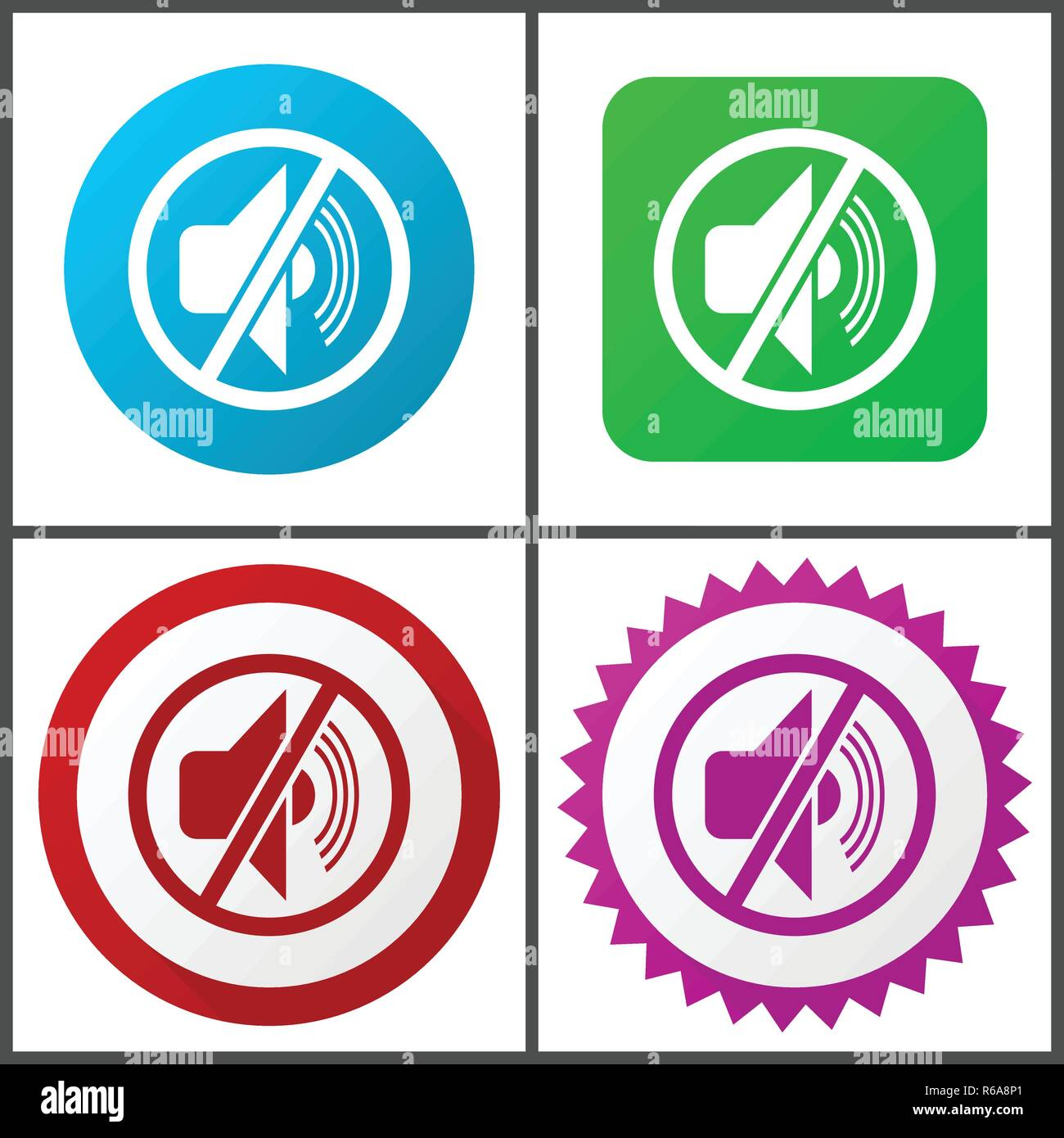 Mute red, blue, green and pink vector icon set. Web icons. Flat design signs and symbols easy to edit - Stock Image