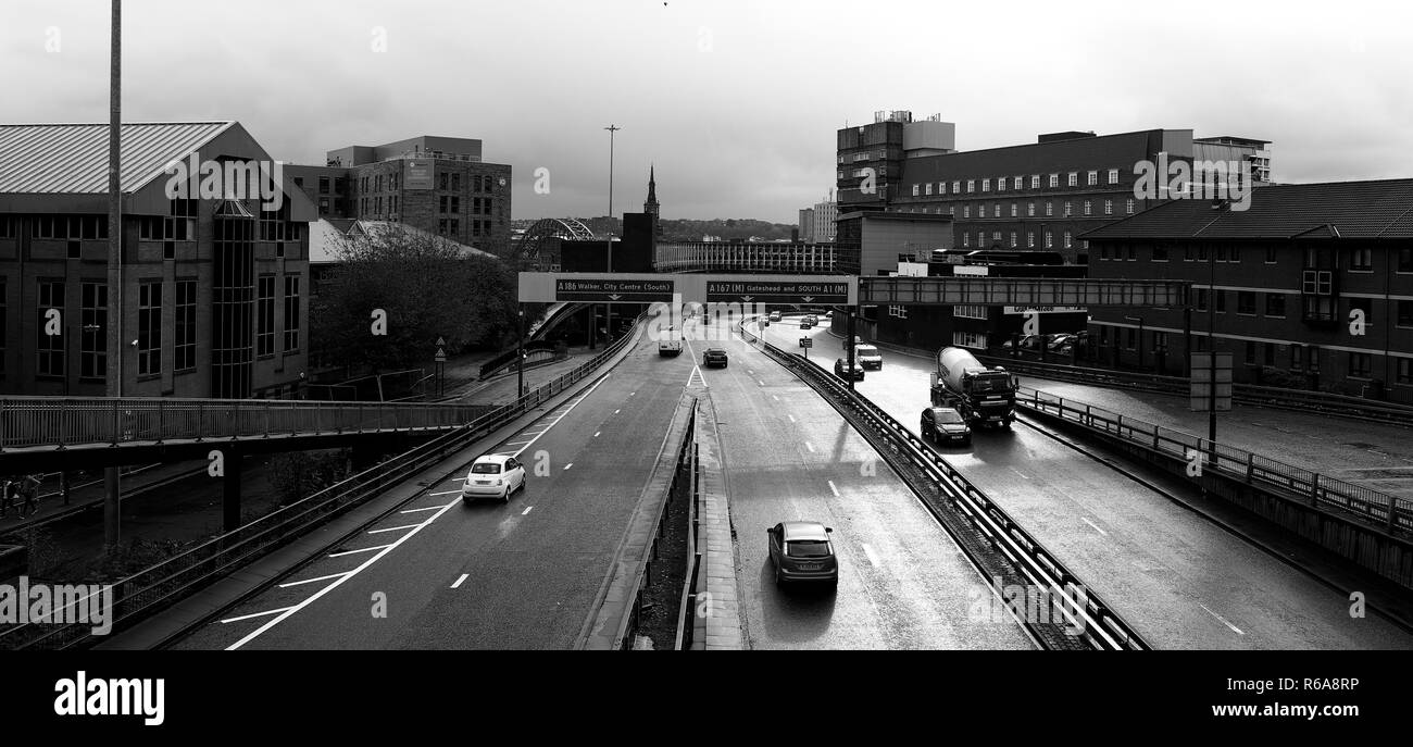 The motorway in the centre of the city of Newcastle upon Tyne Stock Photo