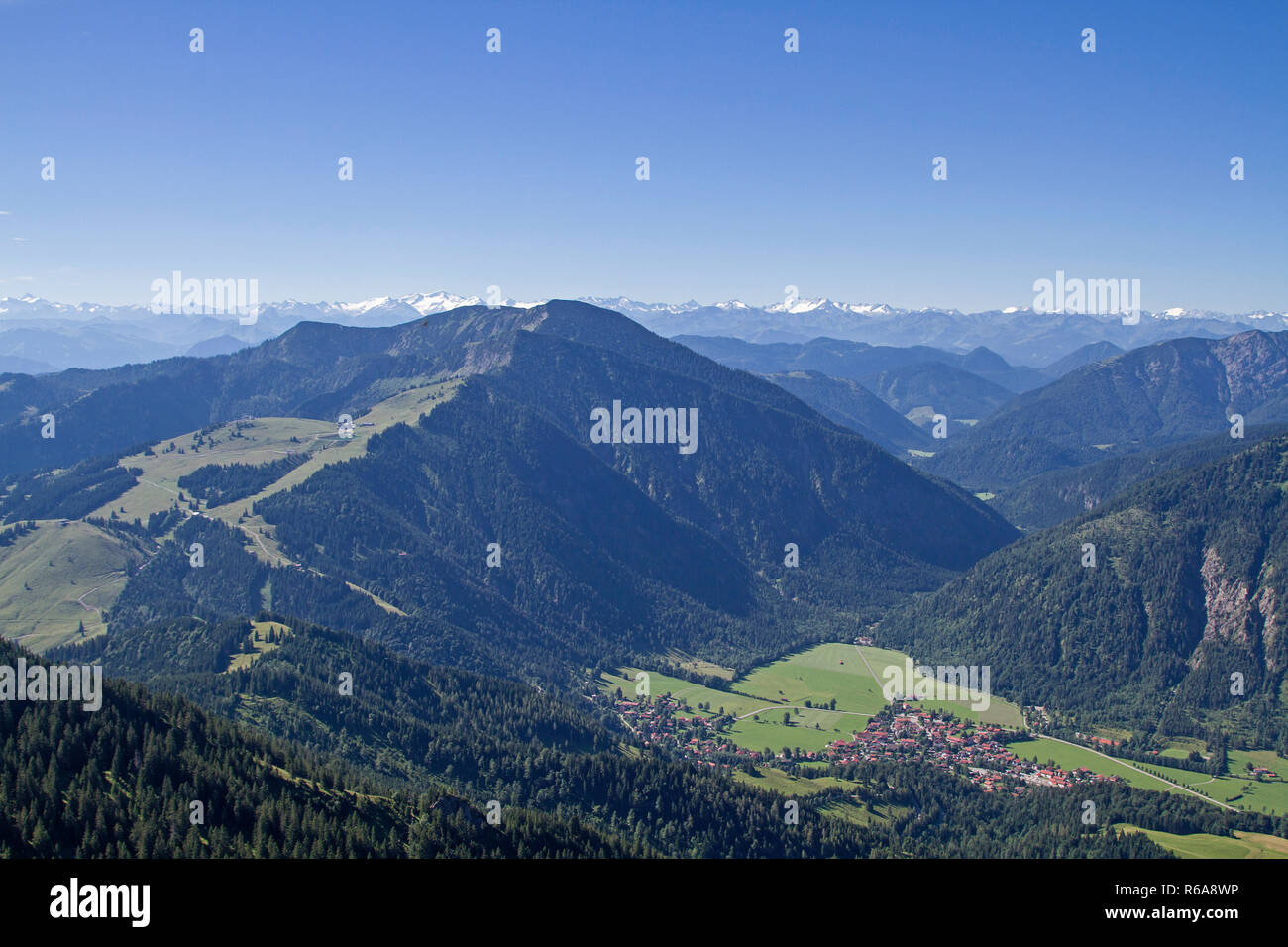 View From The Wendelstein To The Leitzach Valley With Its Main Town Bayrischzell - Stock Image