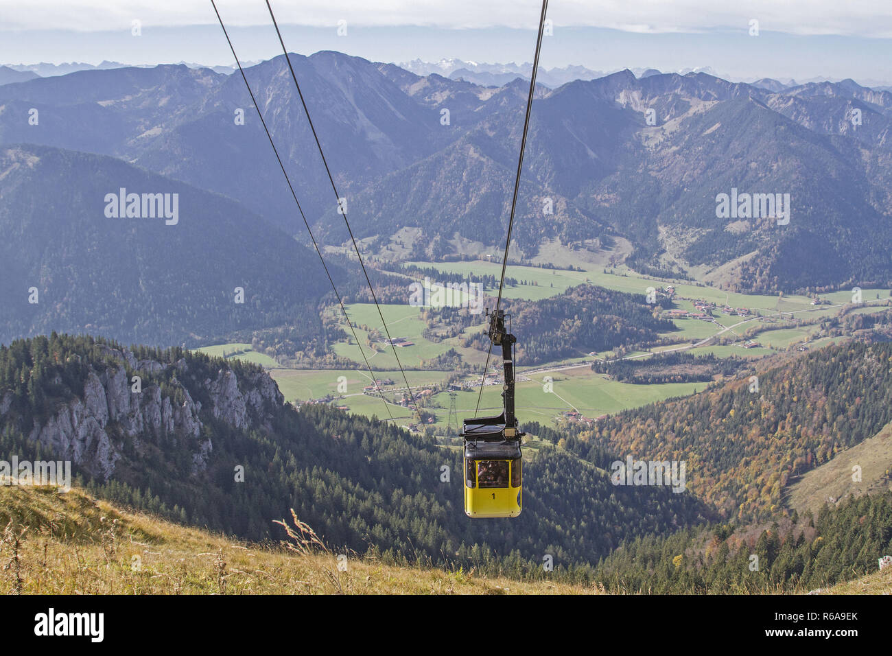 The Cable Car Takes You From Bayrischzell In The Leitzach Valley To The Famous Wendelstein Mountain In Just A Few Minutes - Stock Image
