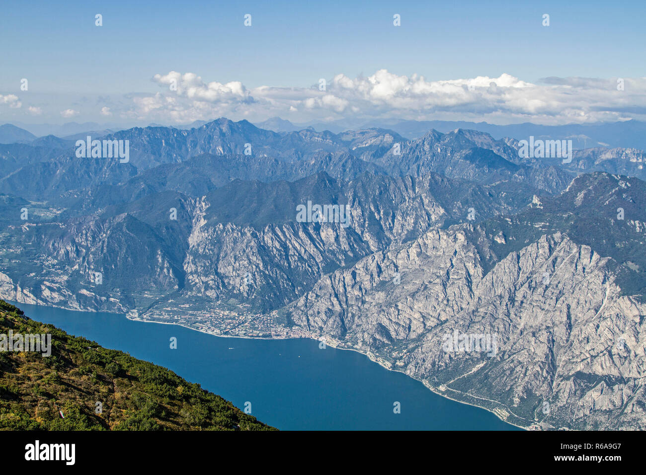 The Magnificent View Of Lake Garda Is The Reward For The Strenuous Climb To Monte Altissimo - Stock Image