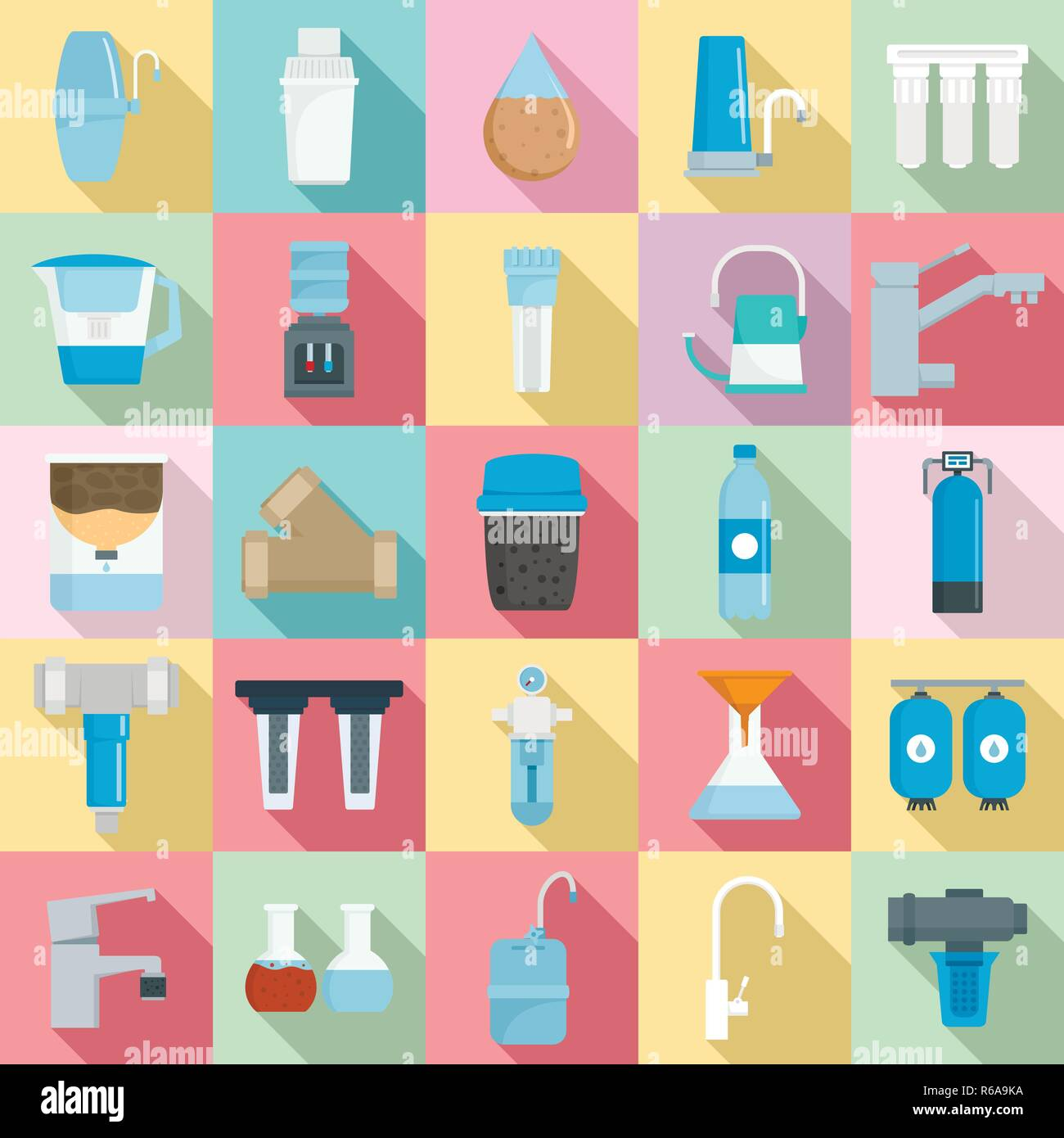 Filter water icon set. Flat set of filter water vector icons for web design - Stock Image