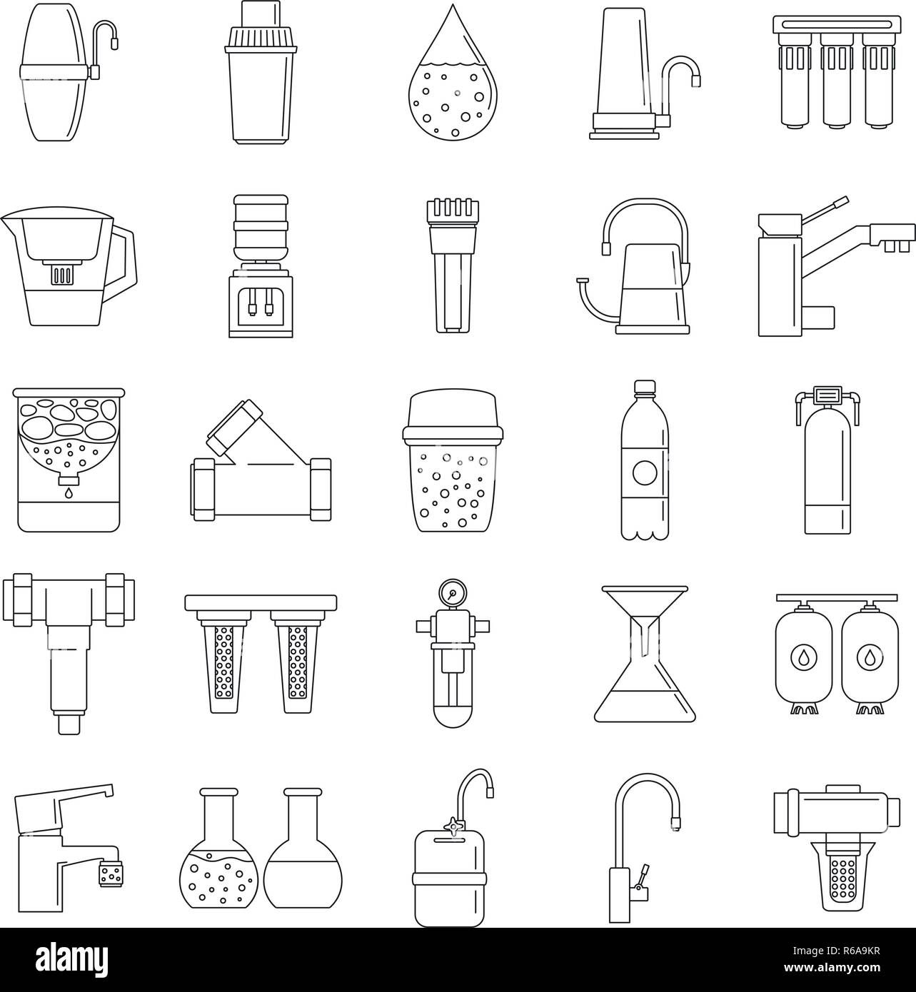 Filter water system icon set. Outline set of filter water system vector icons for web design isolated on white background - Stock Image
