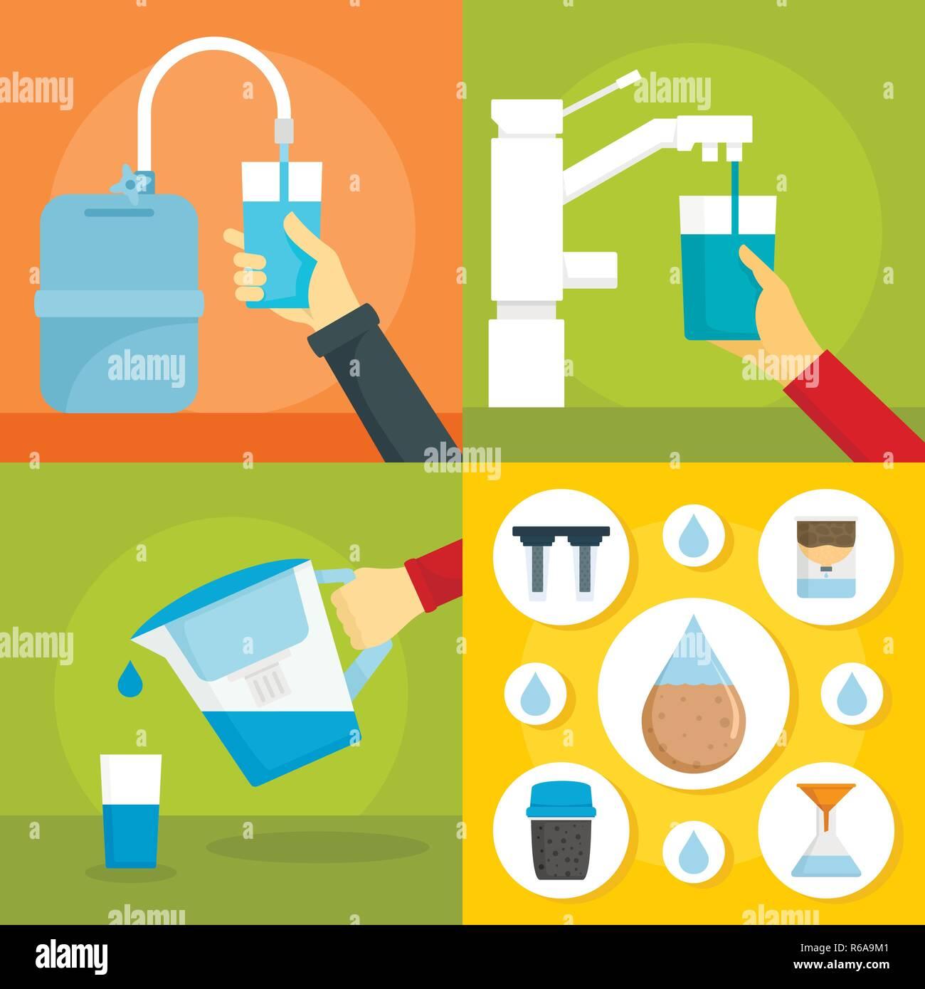 Home filter water banner set. Flat illustration of home filter water vector banner set for web design - Stock Image