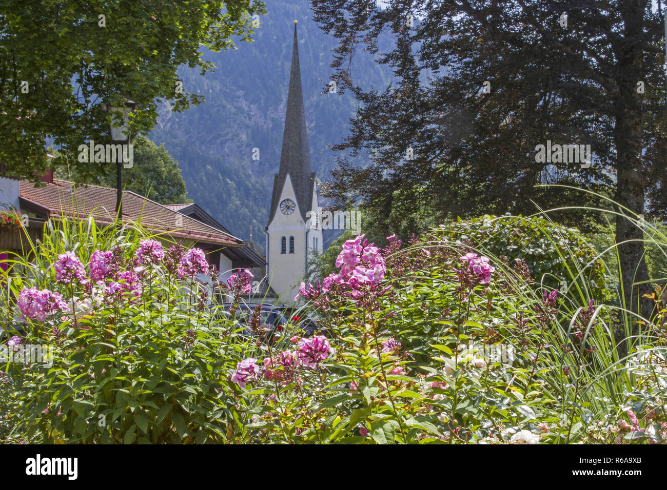 Church Of St. Margareth In Bayrischzell Seen From The Park - Stock Image