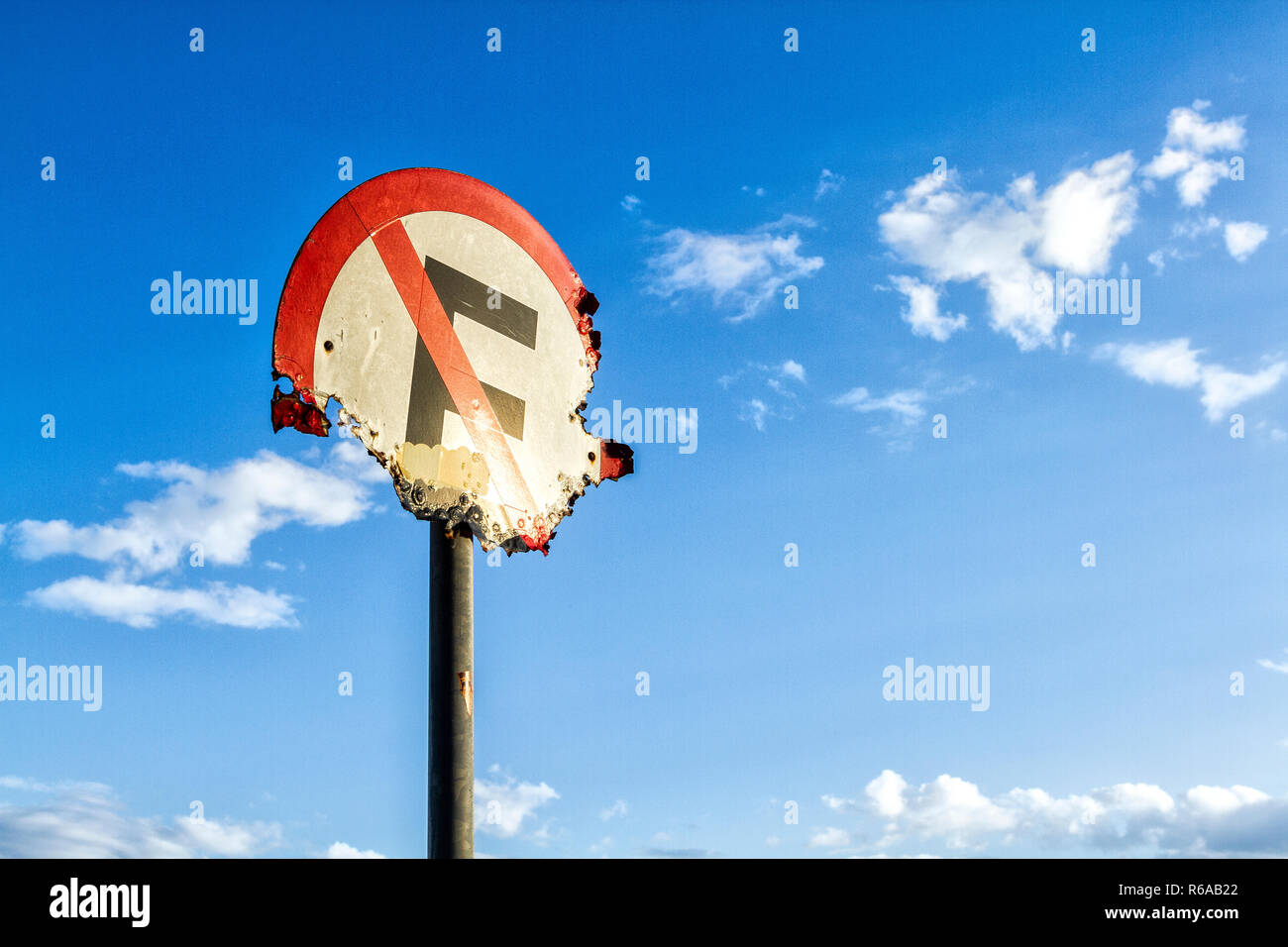 No parking sign corroded by sea air. Florianopolis, Santa Catarina, Brazil. - Stock Image