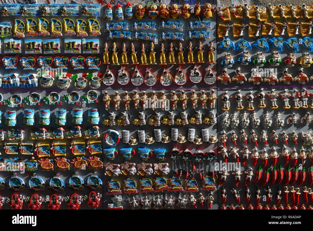 Fridge magnets, Krippenstrasse, via San Gregorio Armeno, Naples, Italy , Kuehlschrankmagneten, Via San Gregorio Armeno, Neapel, Italien Stock Photo