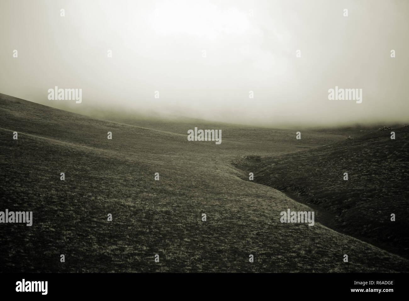 Fog On The Prairie Hills - Stock Image