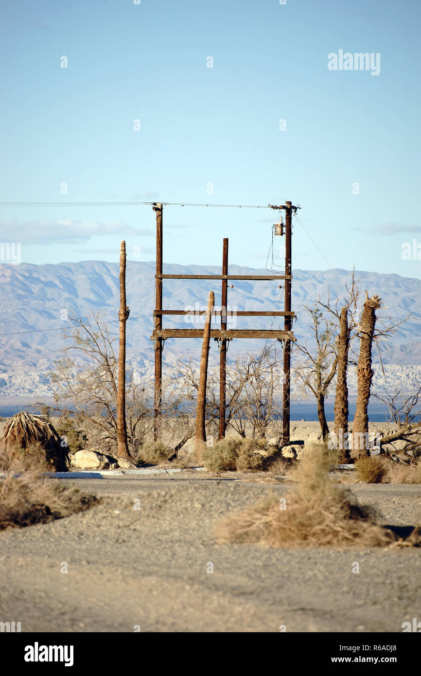 Telephone Mast In Salton City - Stock Image