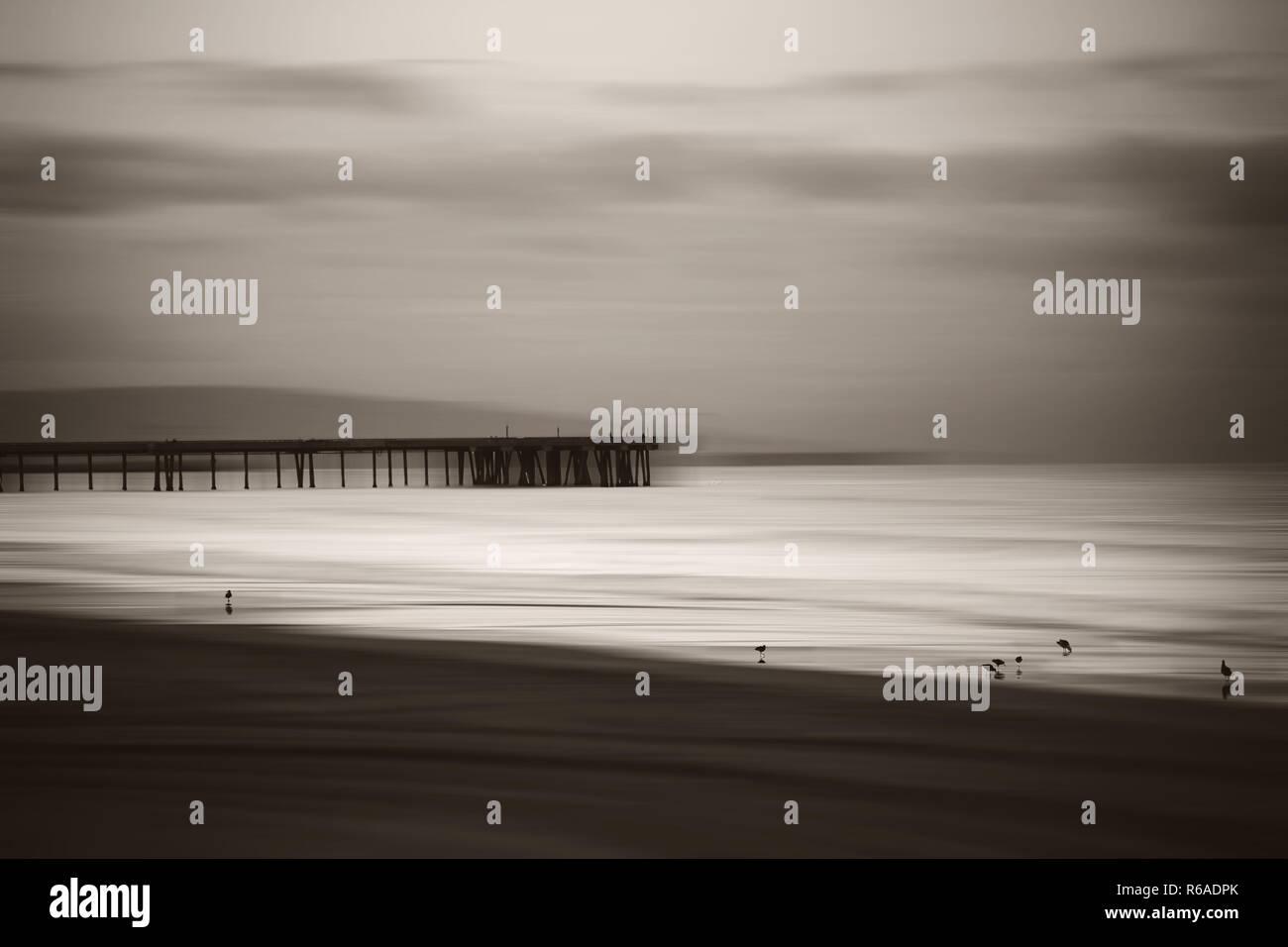 Wiped Ocean With Boardwalk - Stock Image