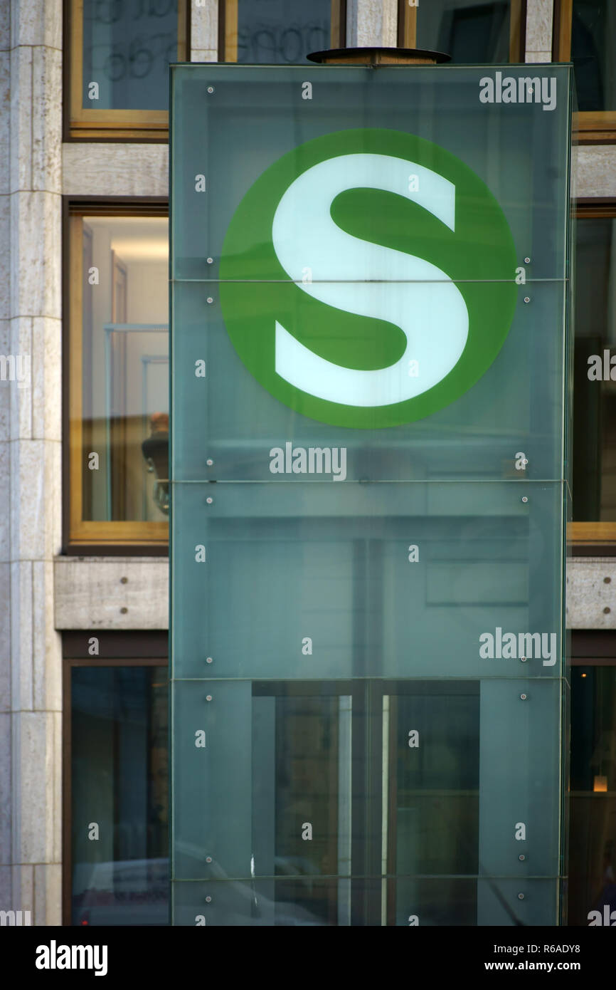 S-Train Station Sign - Stock Image