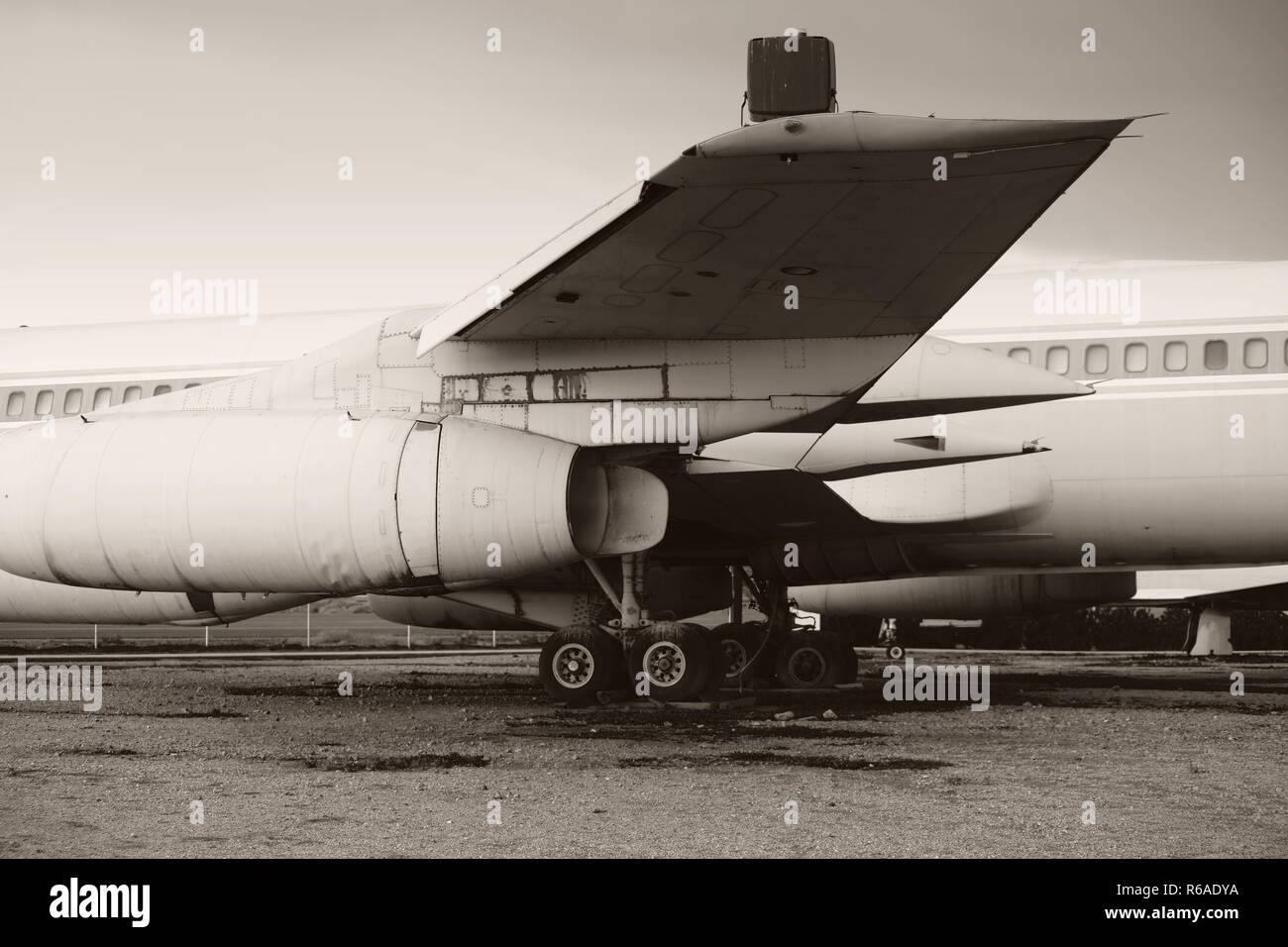Old Airplane Side View - Stock Image