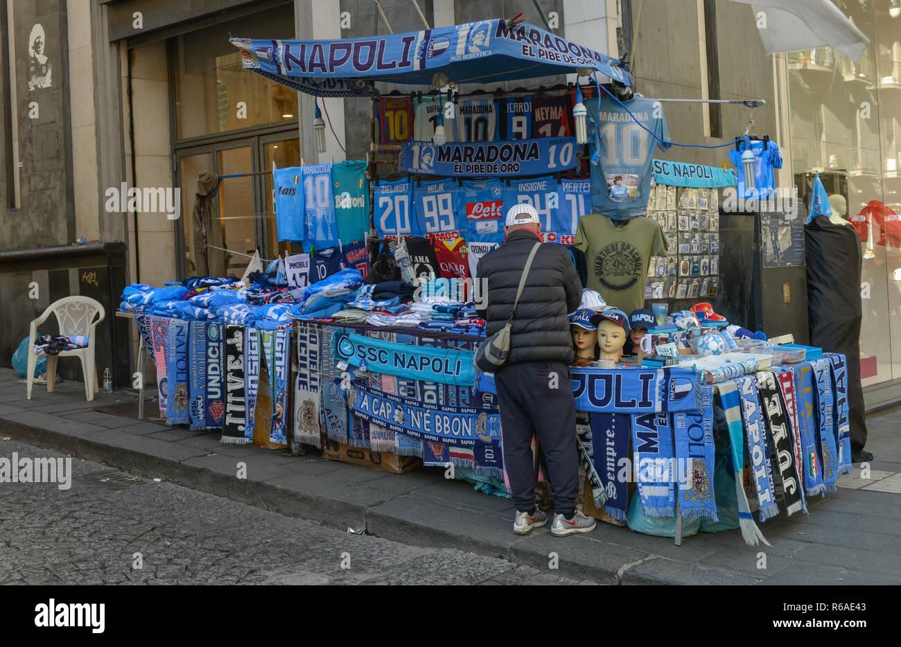 Fan scarfs, tricots, flags, Naples SSC, Naples, Italy , Fanschals, Trikots, Fahnen, SSC Neapel, Neapel, Italien - Stock Image