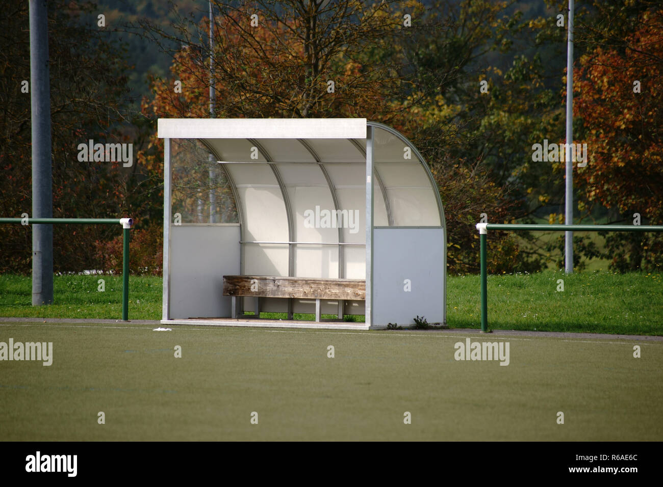 Coach Bench At Soccer Field - Stock Image