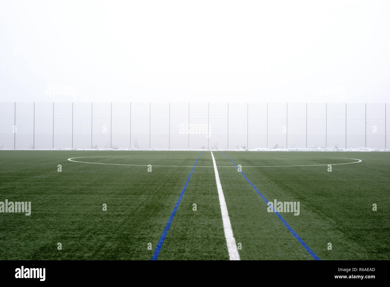 Football Field In The Fog - Stock Image