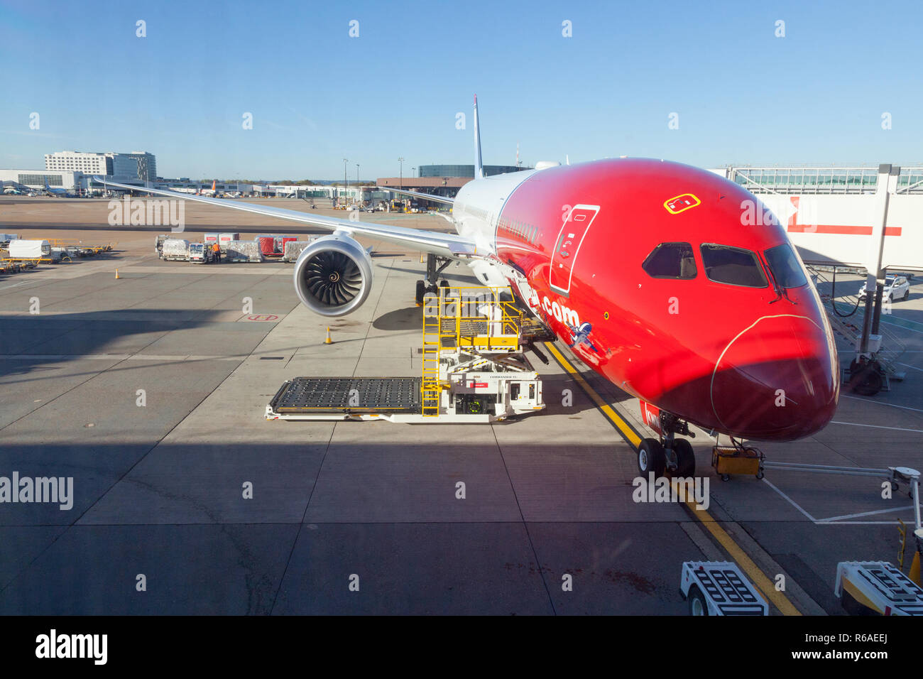Norwegian Air aircraft at London Gatwick Airport LGW,  England, United Kingdom. - Stock Image