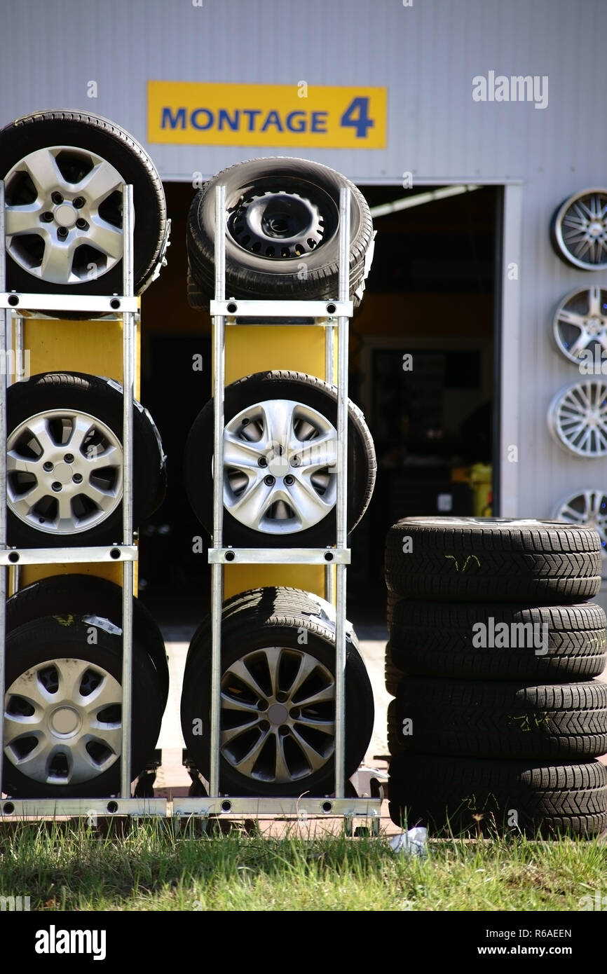 Tire Stack For Tire Change Stock Photo