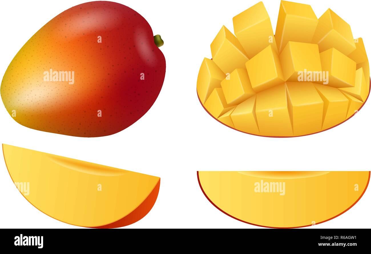 Mango fruit icon set. Realistic set of mango fruit vector icons for web design - Stock Vector
