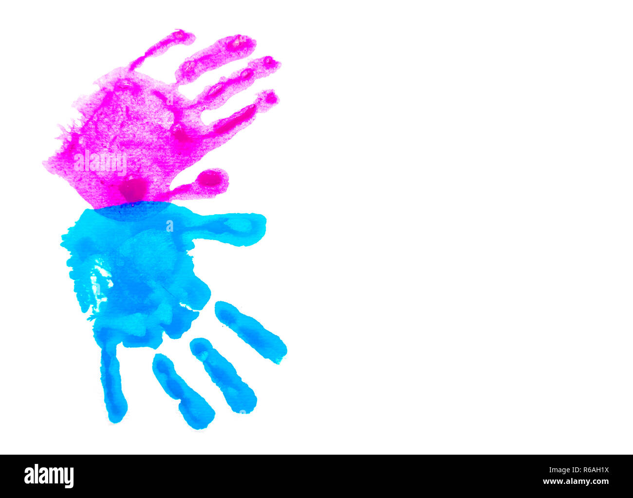 Colorful child's handprints isolated on white with copy space. World autism awareness day concept. - Stock Image