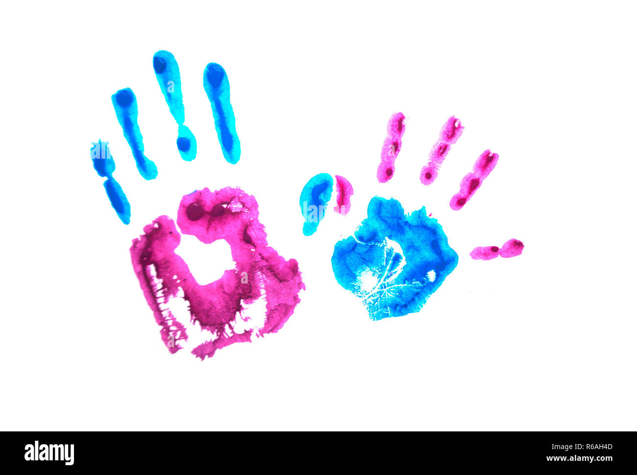 Colorful child's handprints isolated on white background. World autism awareness day concept. - Stock Image