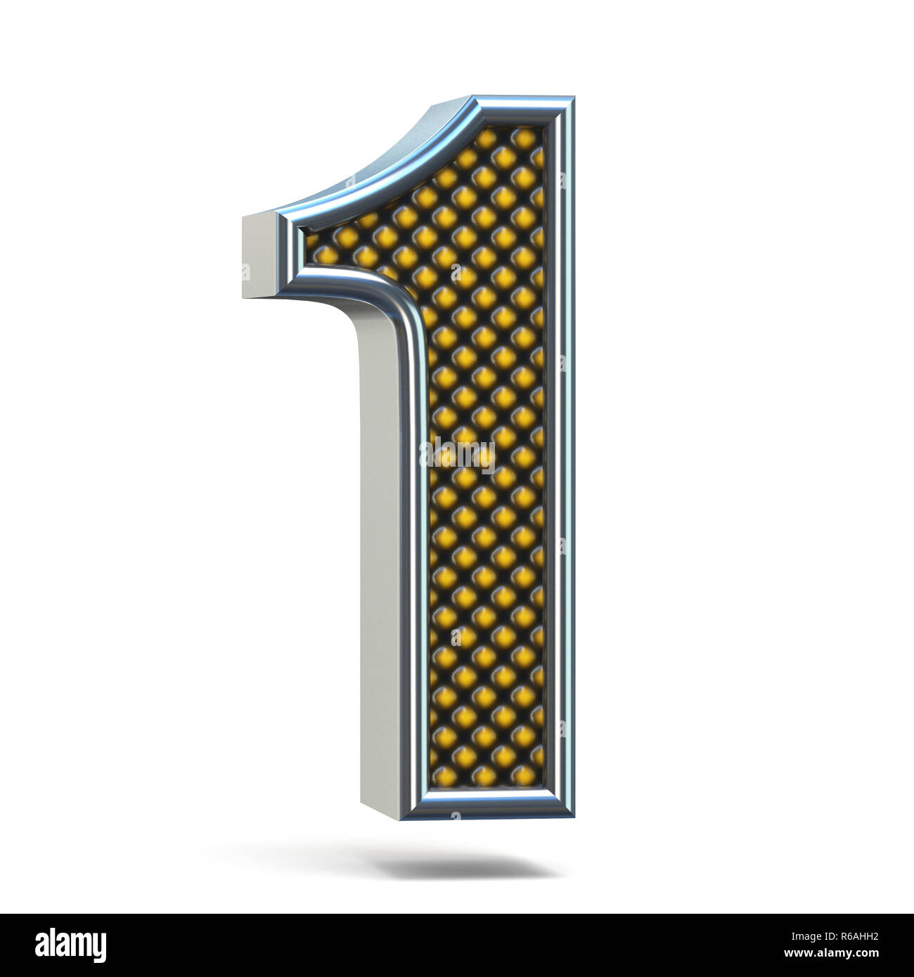 Chrome metal orange dotted font Number ONE 1 3D Stock Photo