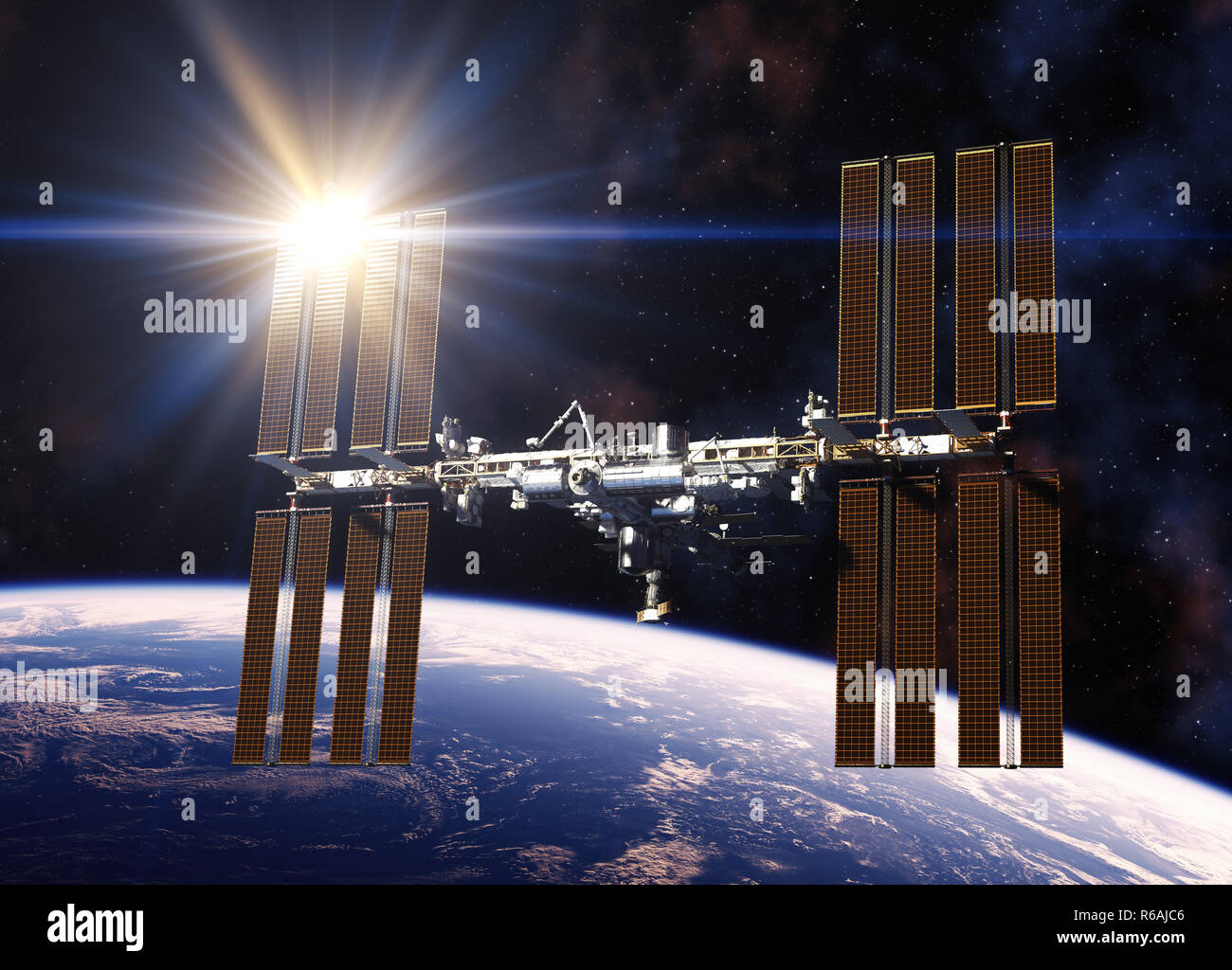 Reflecting Sun In Solar Panels Of International Space Station. 3D Illustration. - Stock Image