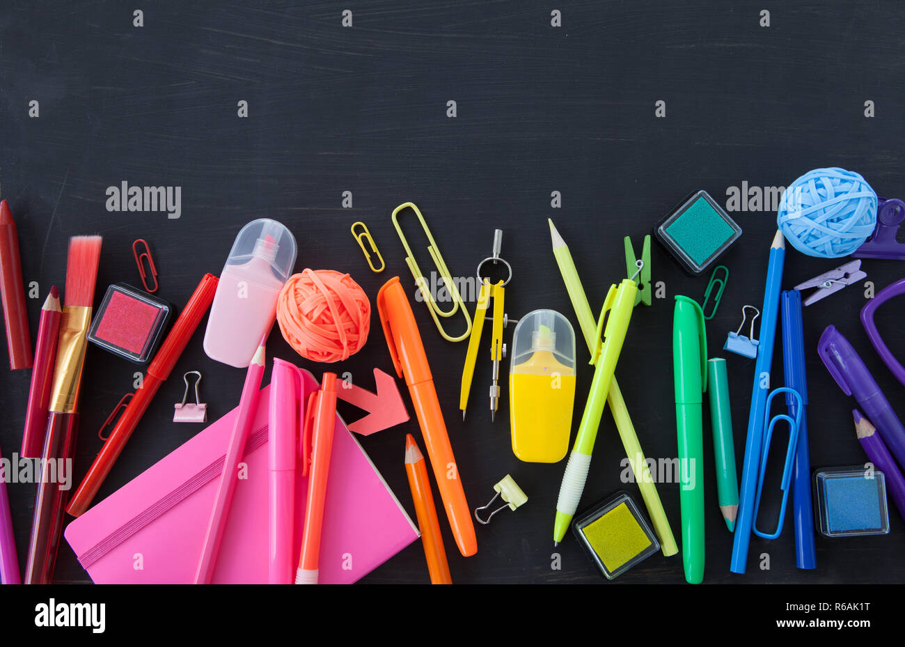 Colorful School  Office Supplies - Stock Image