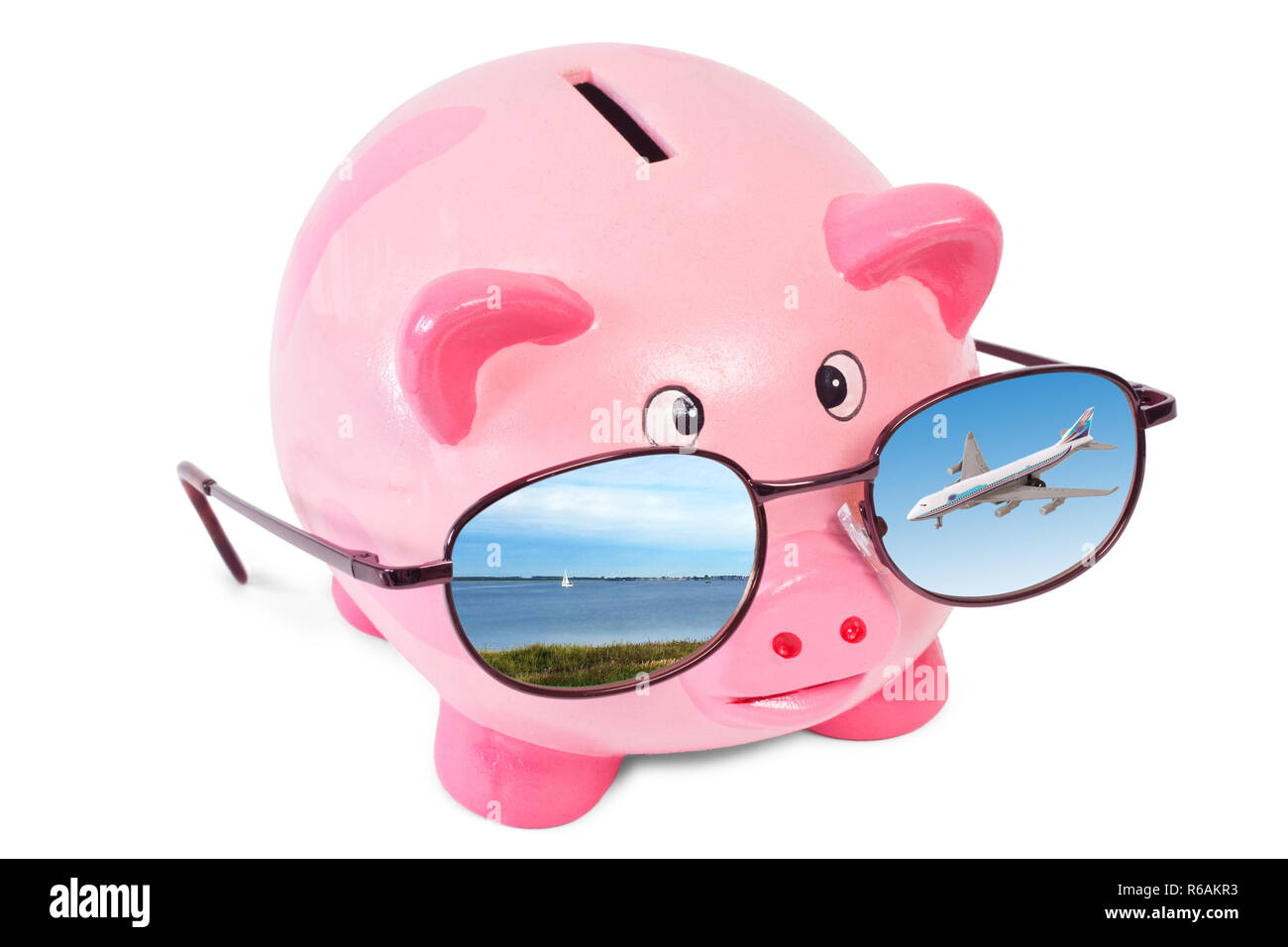 Pink Piggy Bank With Sunglasses Isolated On White Background - Stock Image