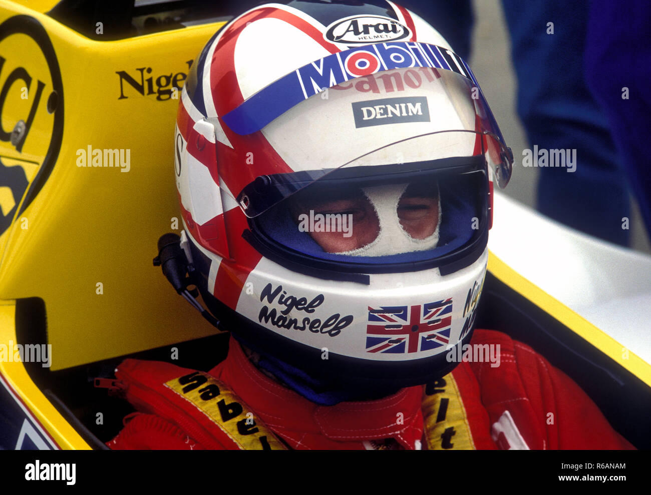 Nigel Mansell in the Williams -Honda at the Portuguese Grand Prix 1985 - Stock Image