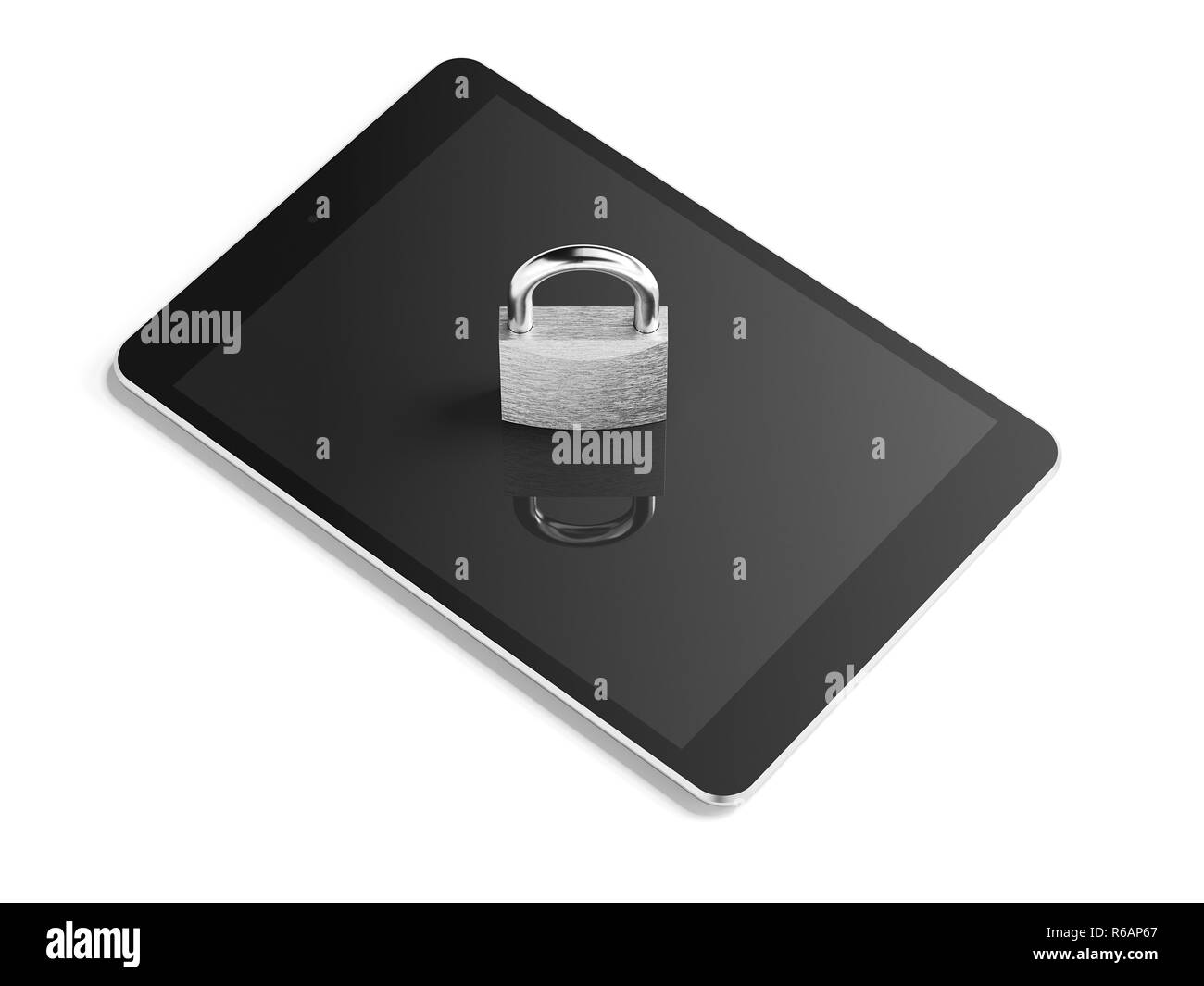 Silver padlock on tablet pc. 3d rendering - Stock Image