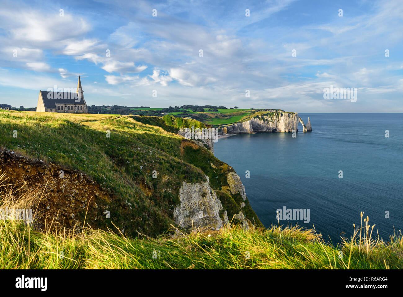 Etretat Normandy France Cliffs Church And Beautiful Famous