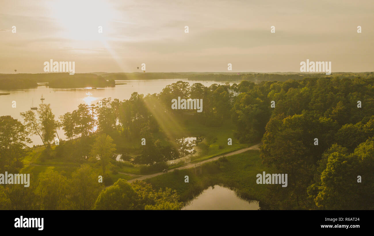 Drone photography of Uzutrakis during summer sunset. - Stock Image