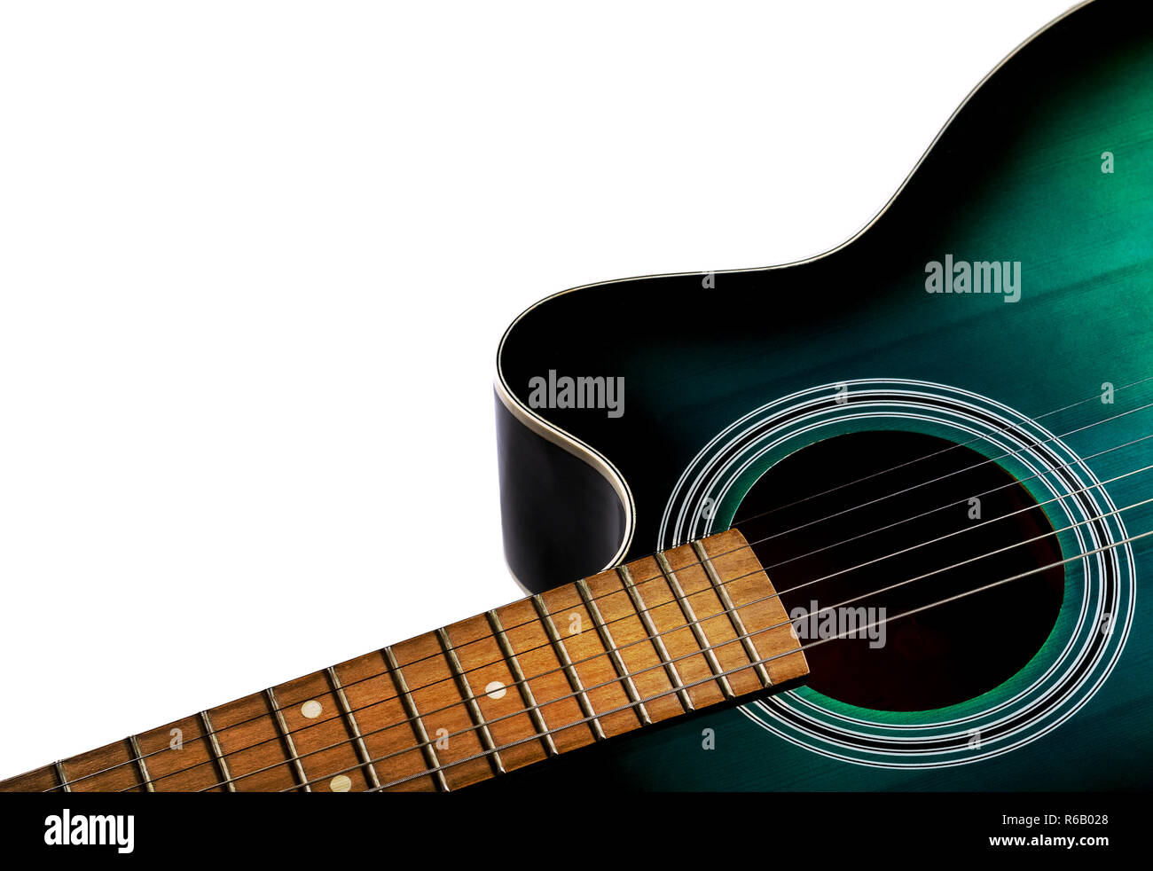 Part Of The Acoustic Guitar Black And Green Color Isolated On A