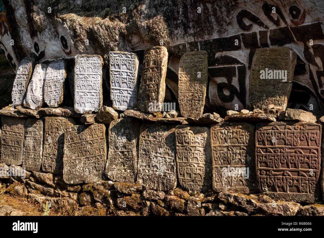 Nepal, Thado Koshi Gaon, Buddhist mani wall in middle of path to Phakding on Everest Base Camp Trek - Stock Image