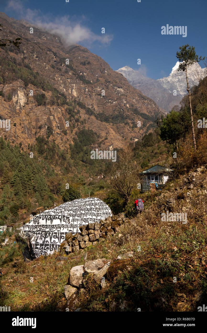 Nepal, Thado Koshi Gaon, large carved, painted Buddhist mani stone beside Everest Base Camp Trek path - Stock Image