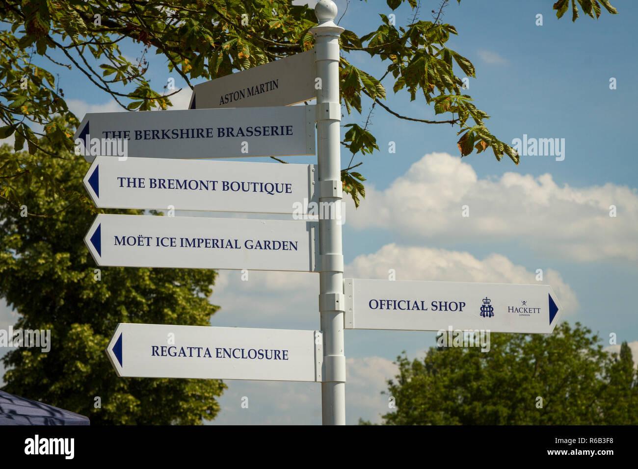 Information signs at Henley Royal Regatta Stock Photo