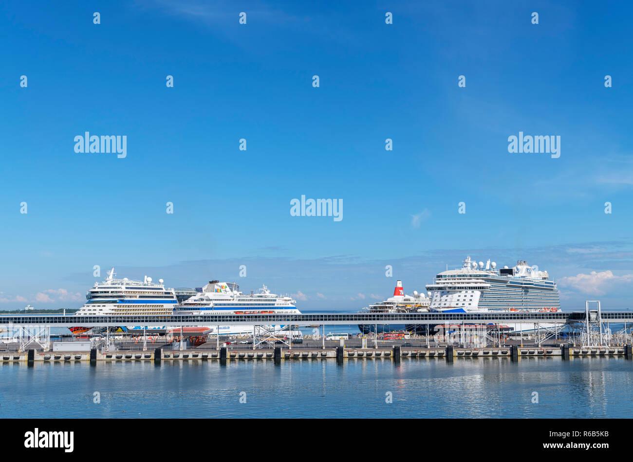 Cruise ships in the port of Tallinn, Estonia - Stock Image