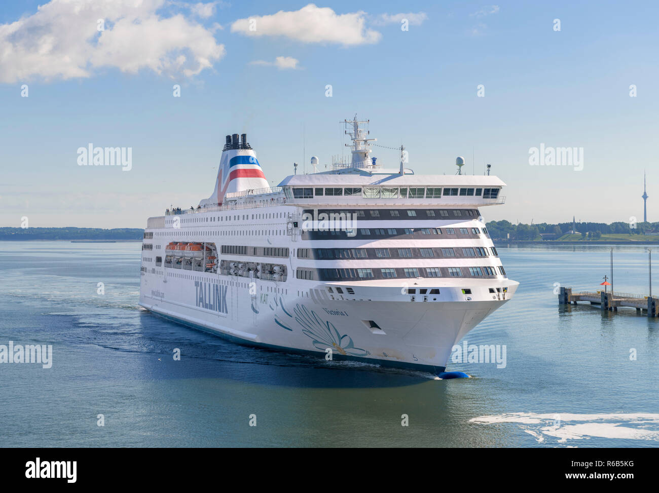 Tallink ferry Victoria I entering the port of Tallinn, Estonia - Stock Image