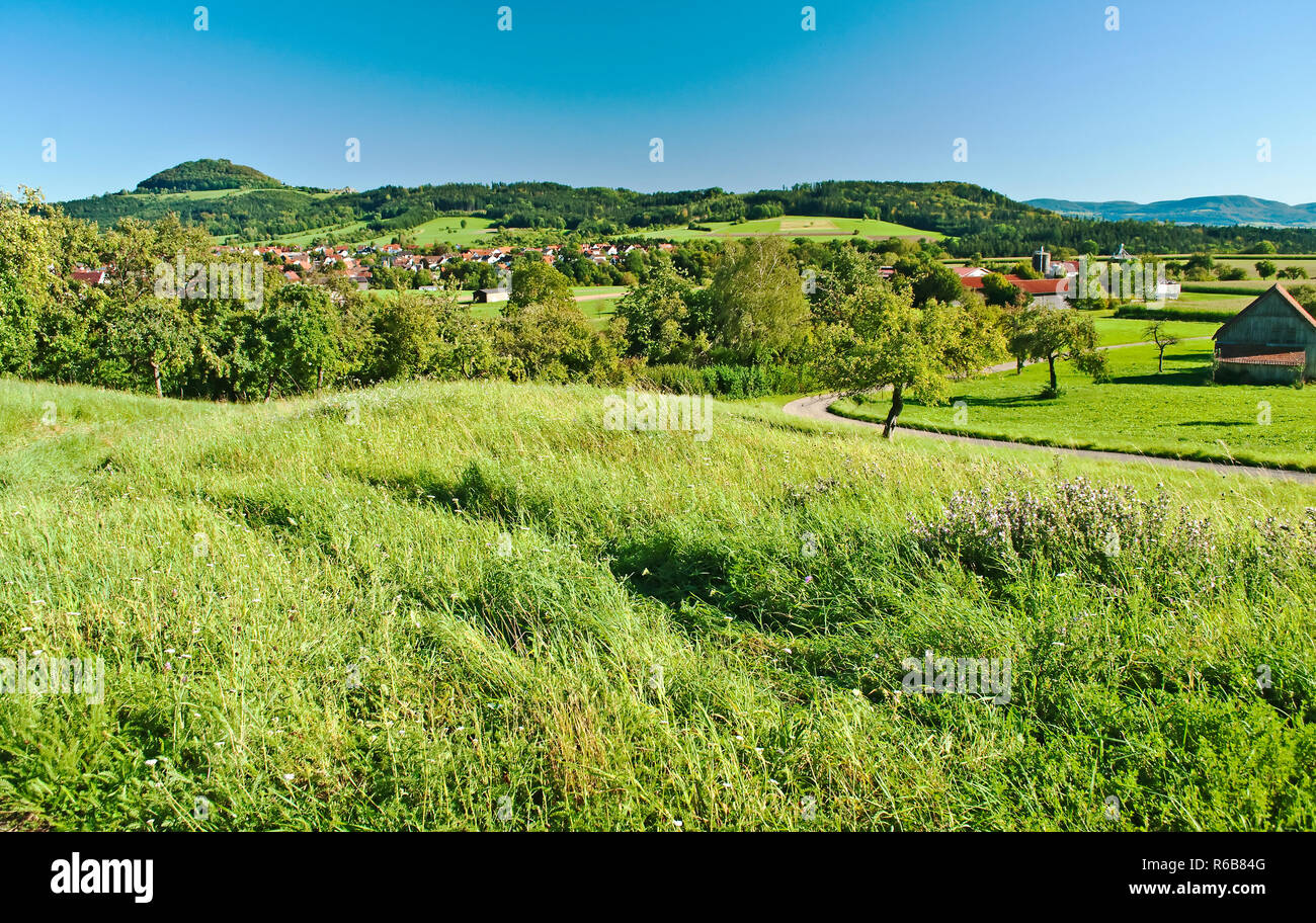 Country Idyll With Village And View To German Alb - Stock Image