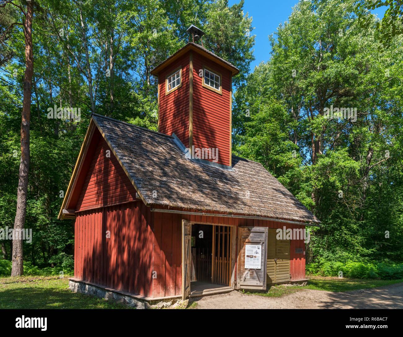 The 1928 Fire Station from  Orgmetsa village in Järva-Madise parish, Estonian Open Air Museum (Vabaõhumuuseum), Tallinn, Estonia - Stock Image