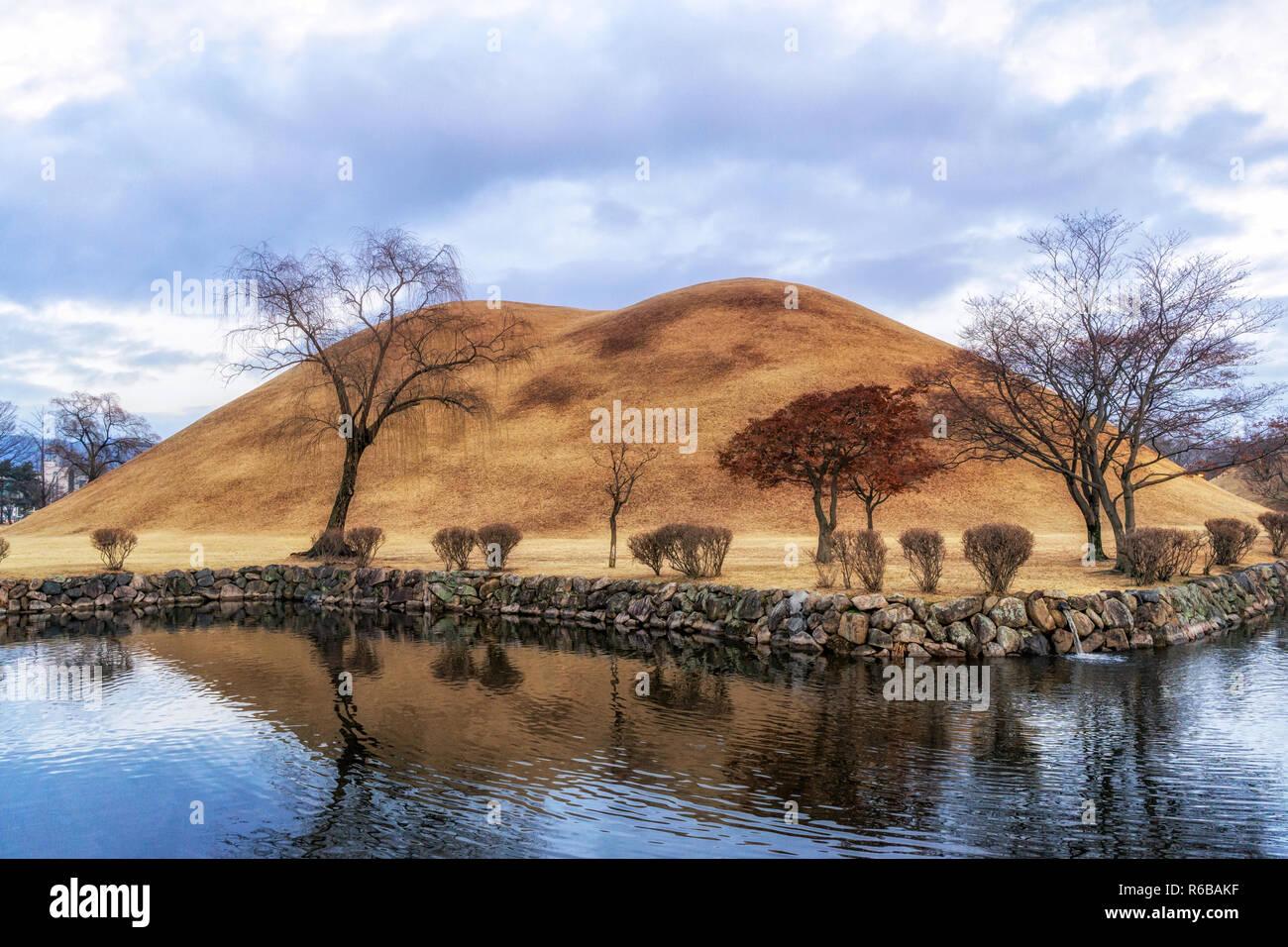 royal mounds reflection Stock Photo