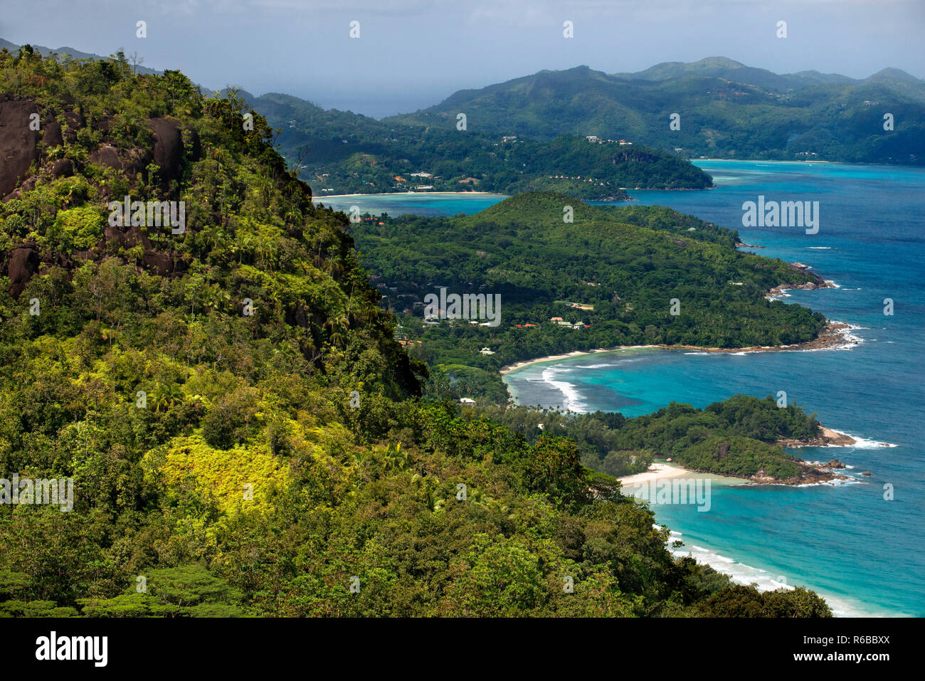 Port Glaud, elevated view of south coast, panoramic road Mahe Seychelles - Stock Image