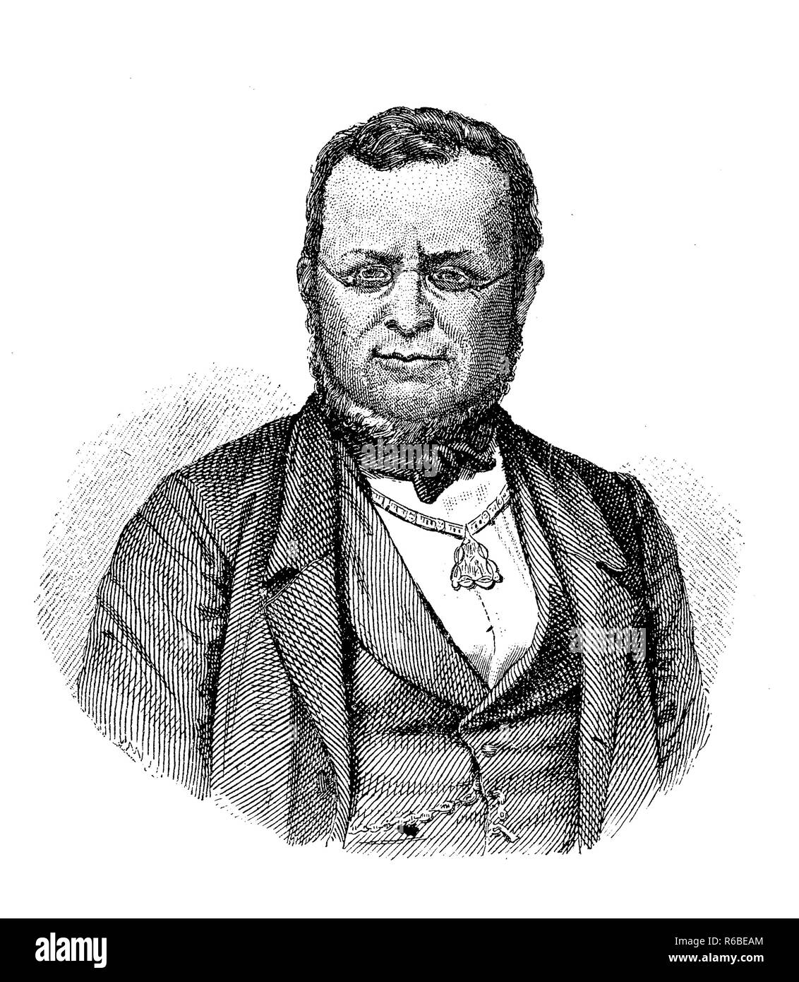 Vintage engraving portrait of Camillo Benso, Count of Cavour (1810 - 1861) ,  Italian statesman,  Prime Minister of the Kingdom of Piedmont-Sardinia and  Prime Minister of Italy - Stock Image