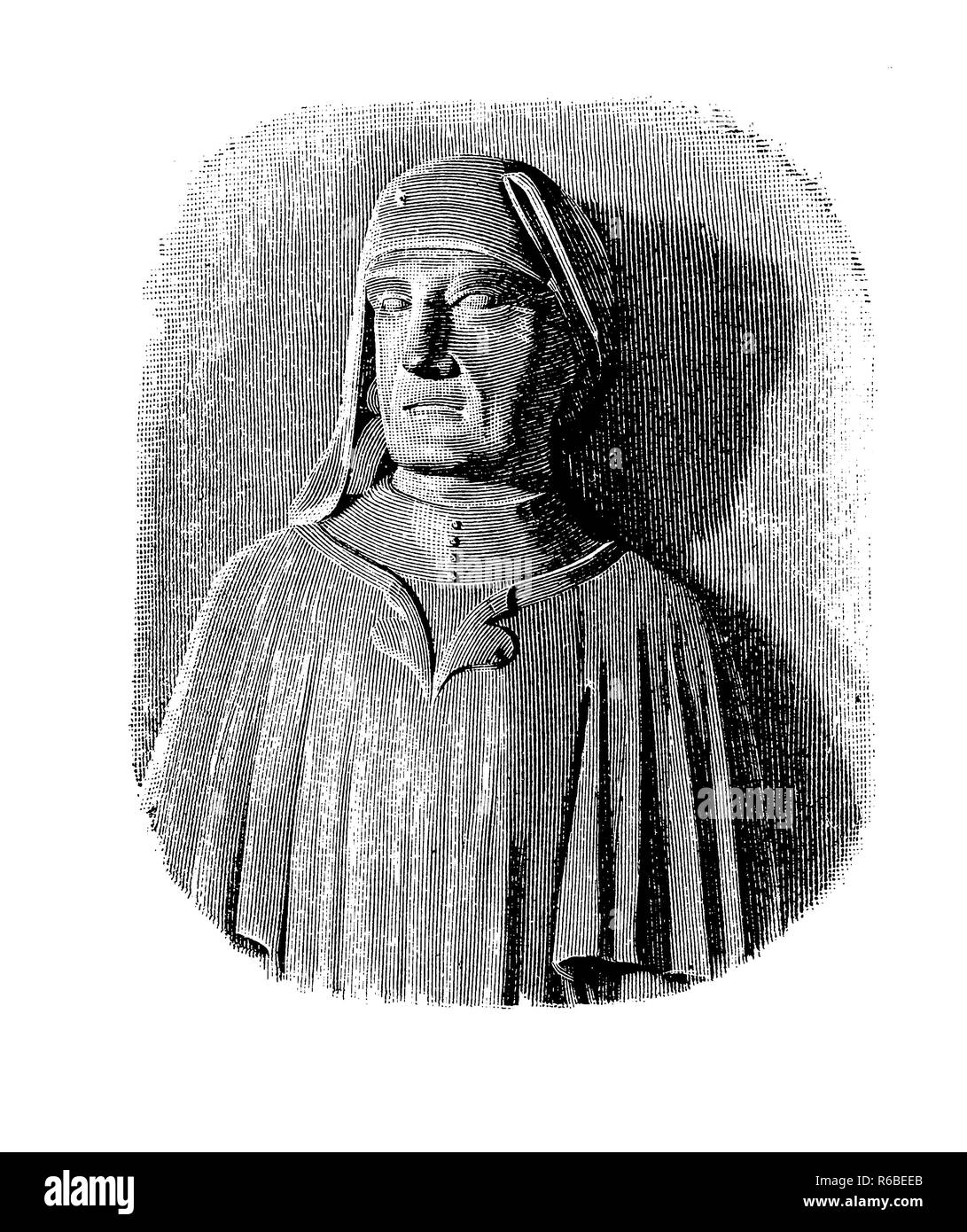 Vintage engraving portrait of Cino da Pistoia (1270  - 1336),  Italian jurist of important legal work, poet and law professor at the universities of Siena, Florence, Perugia, and Naples - Stock Image