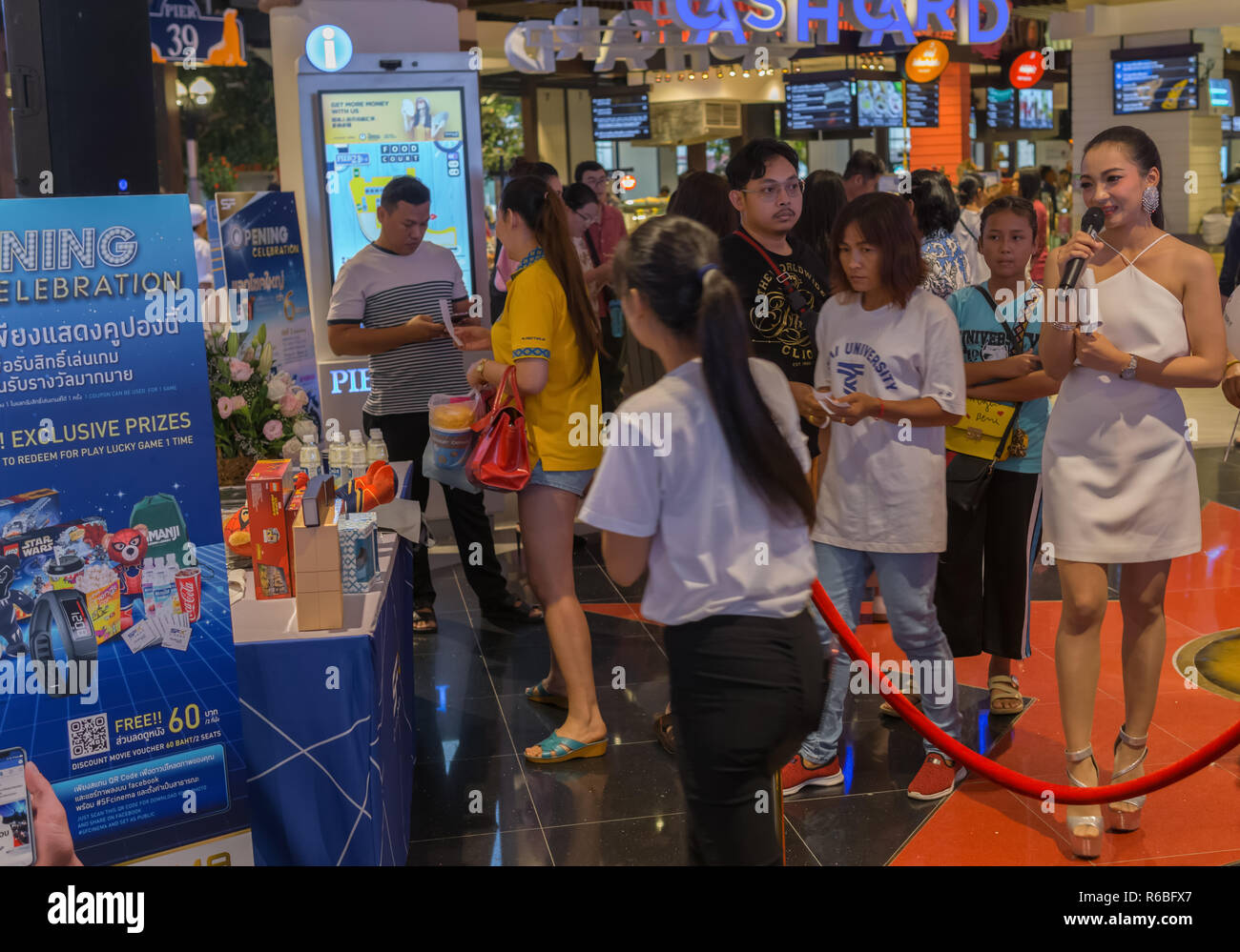 PATTAYA,THAILAND - OCTOBER 19,2018:Terminal 21 On the opening day of the mall in Second Road were many promoters,who promoted special offers in colorf - Stock Image