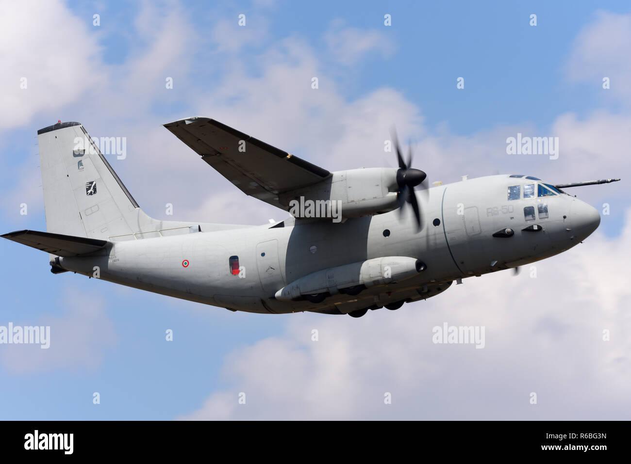 Italian Air Force Aeronautica Militare Alenia C-27J Spartan transport plane flying at the Royal International Air Tattoo, RIAT, RAF Fairford airshow. Stock Photo